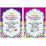 Tarjeta De Invitación Personalizada Motivo Mariposas