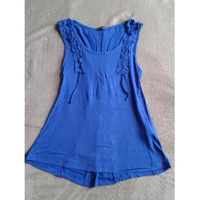 Blusa Azul Royal, Detalhe Frente E Trás, Tam. P