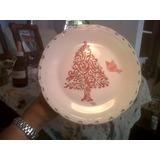 Navidad, Plato De Masas. Porcelana Pintada A Mano