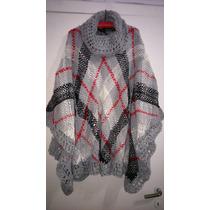 Poncho Tejido Artesanal Telar Y Crochet Lana