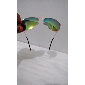 Óculos Sol Masculino Feminino Espelhado Verde Oval Metal Uv