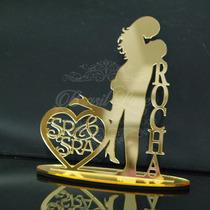 Topo De Bolo Acrílico Dourado Espelhado Personali Casamento
