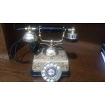 Aparelho Telefone Fixo Antigo Em Dourado/preto, Funcionando