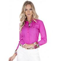 Camisa Pink Feminina Detalhe Estampado Principessa Adriane