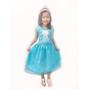Vestido Elsa Ana Frozen Com Coroa Incluso Pronta Entrega