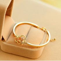 Pulseira Feminina Bracelete Dourado Love Banho Ouro Crystal
