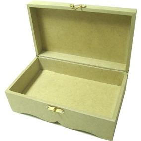 Caixa C/ Fecho E Dobradiças Dourada De Mdf 13,5 X 22 X 09 Cm