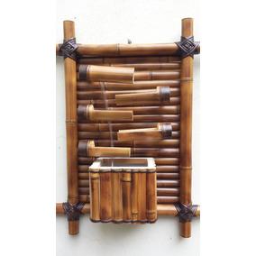 Fonte De Água Artesanal Decoração Parede 5 Quedas Em Bambu