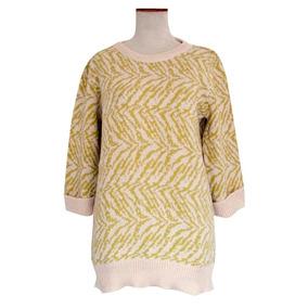 Sweater Pullover Tejido Hilo Algodón Print Mujer Estampado