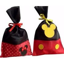 Bolsitas Cumpleaños Personajes Tela Minnie Mickey Sofia