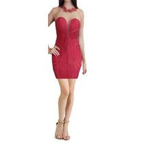 Vestido Renda Transparência Decote Guipir Costas Festa Vr152