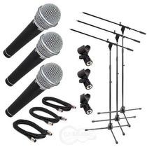 Set 3 Microfonos Samson R21s + Pie Pipetas Cables Y Maletin