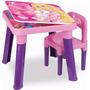 Mesa Pequeno Infantil Barbie + Cadeira Barbie Baú