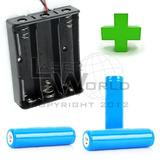 Combo 3 Pilas Batería 18650 3.7v 1400mah + Portapilas Triple