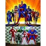 Kit Displays Liga Da Justiça 8 Peças + Painel 2,00x1,40 Ref2