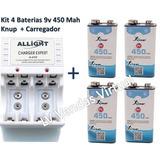 Kit 4 Baterias Recarregável 9v 450 Mah Knup + Carregador Aaa