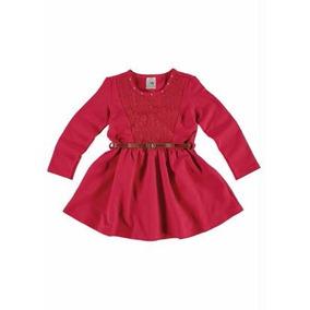Vestido Curto Vermelho Malwee Com Cinto- Tamanho 3
