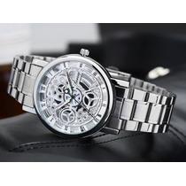 Relógio Prata Esqueleto Esporte Importado