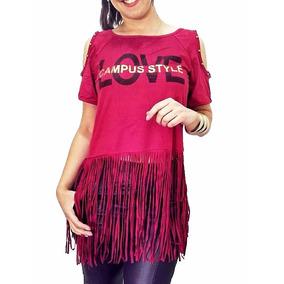 Blusa Camiseta Franja Franjinha Festa Panicat Luxo Diva Show