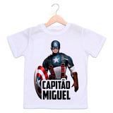 Camiseta Capitão América Com Foto Da Criança