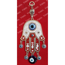 Amuleto Hamsá 23cm C/ Coruja Olho Grego Mão Fátima Mão Deus