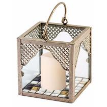 Lanterna / Luminária Porta Vela Em Metal Com Vela De Led