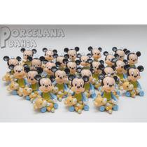 Mickey Bebe Con Oso Souvenir En Porcelana Fria