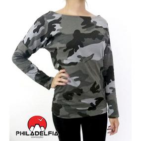 Camiseta Manga Longa Feminina Militar Camuflada 100% Algodão