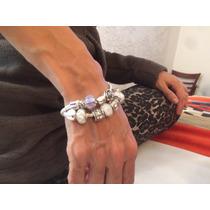 Pulseras Tipo Pandora Bañadas En Plata C/cristal Tipo Murano