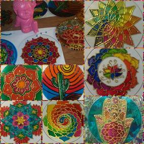 Mandalas En Vidrio De 15cm Pintadas A Mano