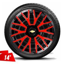 Calota Aro 14 Corsa Hatch Sedan Onix Prisma Meriva Black Red