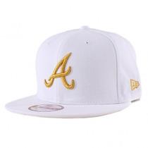 Boné Aba Reta Atlanta Braves Original Snapback Branco Ouro