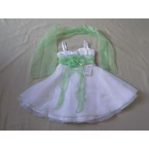 Vestido Infantil/festa Branco E Verde Claro Tam 4 C/echarpe