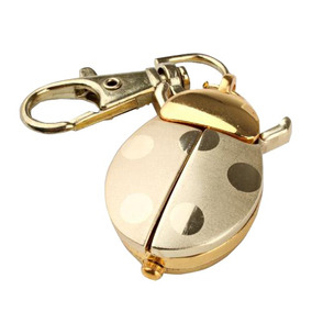 Relógio De Bolso Joaninha Dourado Pingente Ouro Chaveiro