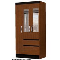 Placard Ropero 0.84 Moderno 3 Puertas De Abrir Con Espejos