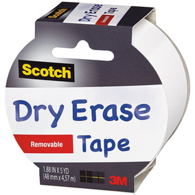 Scotch 1905r-de-wht Dry Erase Tape, 1.88in X 5 Yds