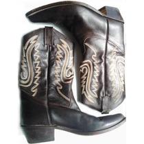 Botas Texanas Jr Boots Cuero Marrón Hombre Solo 2 Posturas !