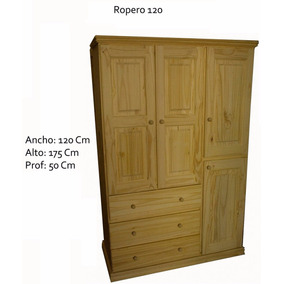 Placar Ropero Pino Macizo 4 Puertas 3 Cajones De Fabrica