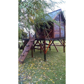 casita de madera para exteriores incluye hamacas y juegos