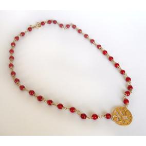 Collar De Oro Laminado 14k Y Piedras Rojas Naturales