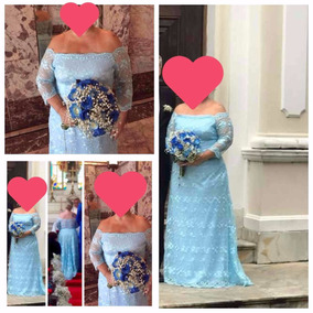 Vestido Noiva/madrinha Em Renda Azul Claro