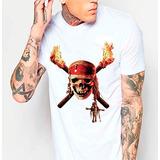 Camiseta Branca Caveira Piratas Do Caribe 309