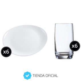 Set Vajilla 6 Platos Steak + 6 Vasos Vigne Vidrio Luminarc