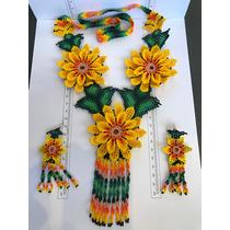 Arte Huuchol Manualidad Chaquira Collar Y Aretes Diseño Flor