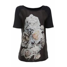 Blusa Malha Com Frente De Cetim E Estampa De Flores 2193