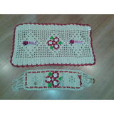 Kit Tapete + Porta Papel Higiênico Croche P/ Banheiro Lavabo