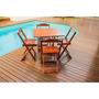 Jogo De Mesa Dobrável 70x70 Gourmet Com 4 Cadeiras