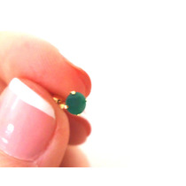 Brinco Pedra Verde Jade Natural Joia Ouro 18k Certificado