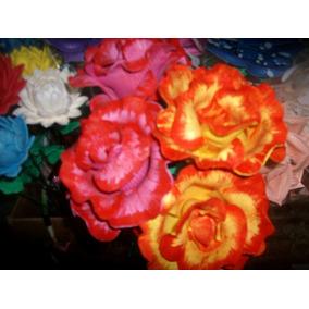 Flores De Goma Eva Laferrere - 10 Rosas Grandes Sin Moldes