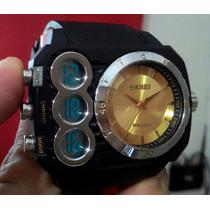 Relógio Pulso Masculino Esportivo - Luxo Skmei Silver Gold